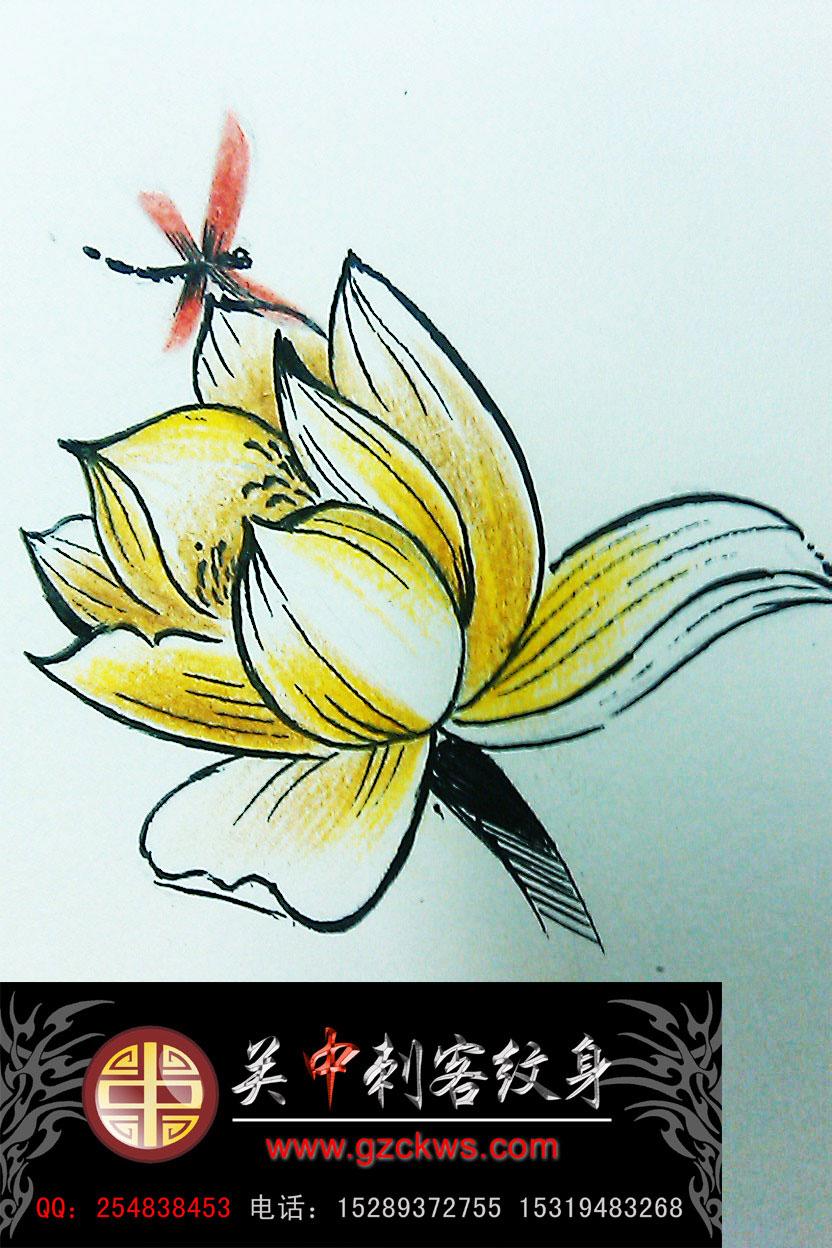 莲花纹身手稿大全
