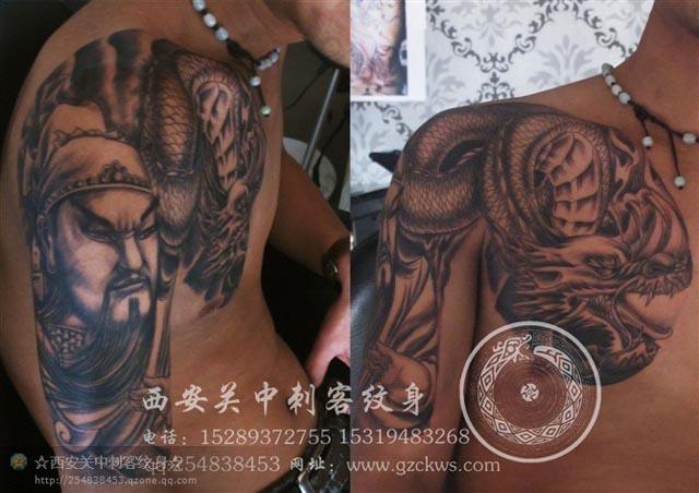 关公诸葛亮半胛纹身图案