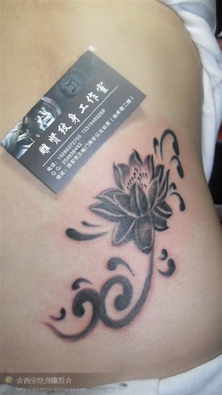 西安纹身 莲花图腾花式纹身
