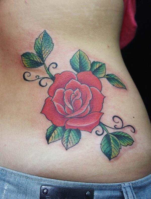 彩色玫瑰花纹身